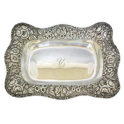 Steiff Repousse Sterling Silver Bread Basket C 1902