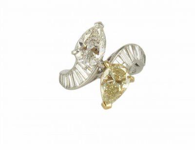 Platinum Yellow & White Diamond Ring