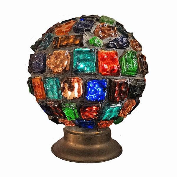 Multi Colored Glass Globe Lamp C 1920