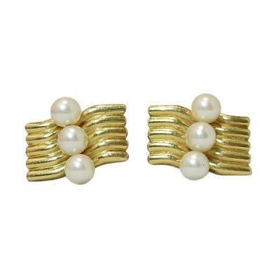 Vintage Mikimoto 14K Gold Cultured Pearl Cufflinks