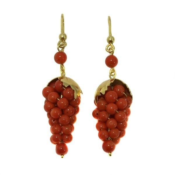 14K Gold Carved Red Coral Grape Cluster Earrings