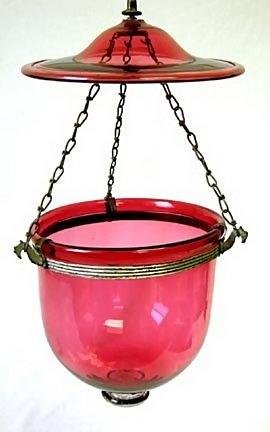 19th C Cranberry Glass Hall Lantern