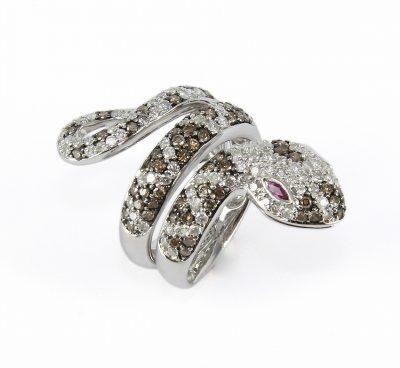 18kt White Gold Diamond Snake Ring