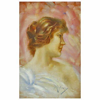 Vincenzo Migliaro Portrait Of A Woman Oil On Panel