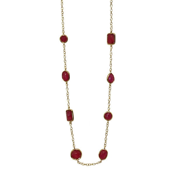 Ippolita 18K Gold Faceted Ruby Chain Necklace