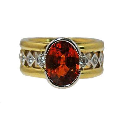 14K Yellow & White Gold Orange Garnet & Diamond Ring