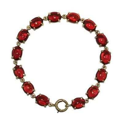 Antique 14K Gold Cabochon Garnet Bracelet