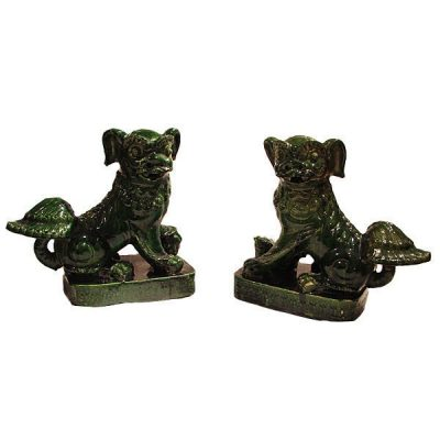 Pair Large Chinese Pottery Foo Dogs Circa 1890-1900