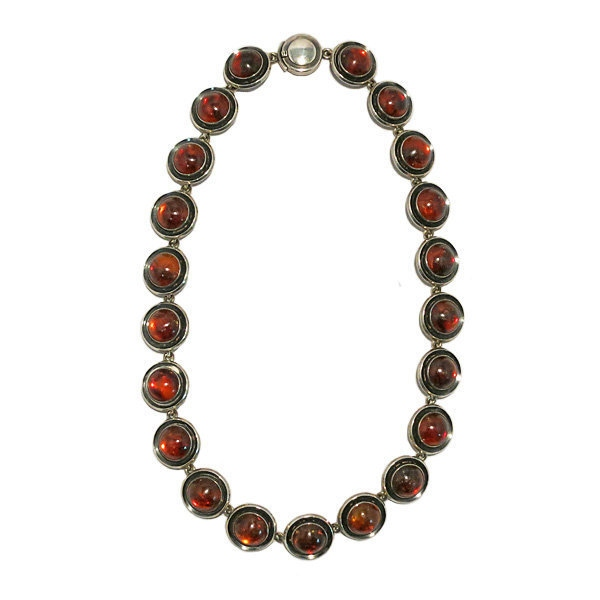 N.E. From Denmark Sterling and Amber Modernist Necklace