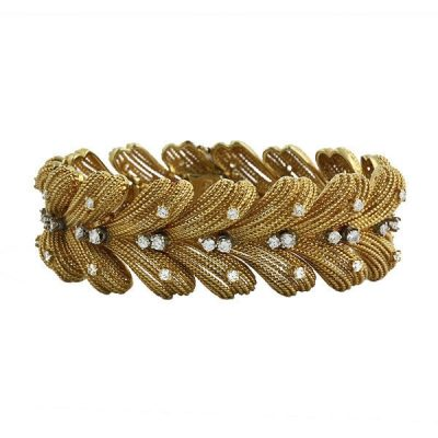 Vintage Le Triomphe 18K Gold and Diamond 1960s Bracelet