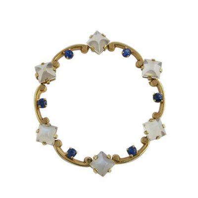 Tiffany & Co. 14K Gold Moonstone Sapphire Circle Pin