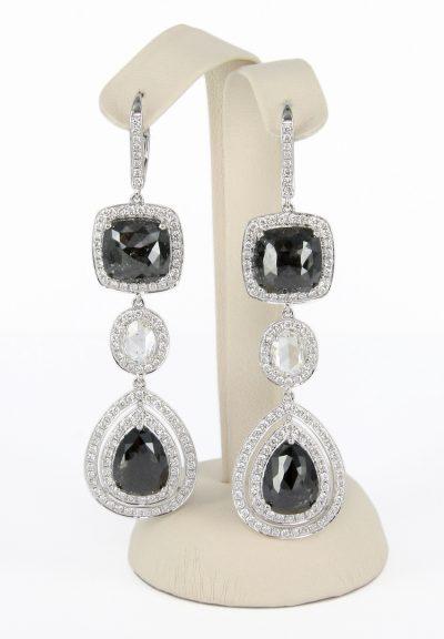 18kt White Gold Black & White Diamond Earrings