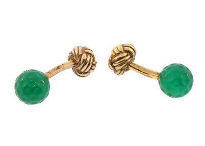 French Silver Green Chalcedony Golf Ball Knot Cufflinks