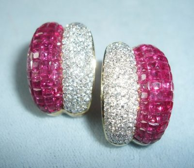 Clip Earrings Invisibly Set Rubies