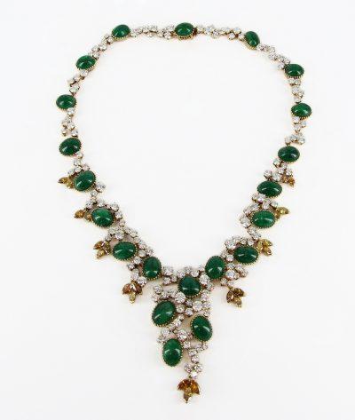 18kt Yellow Gold Cartier Emerald & Diamond Necklace