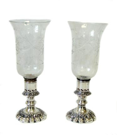 19th English Plate Candlesticks With Hurricane Shades
