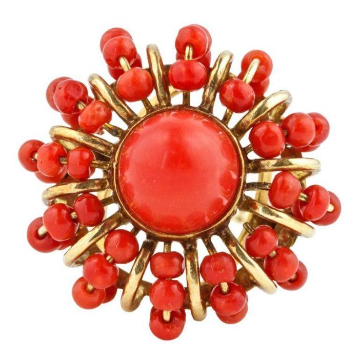 Sunburst Coral Gold Ring