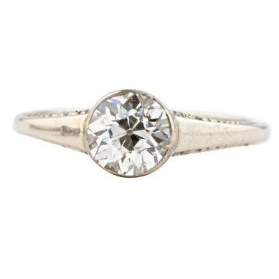 Old Euro Diamond Gold Engagement Ring