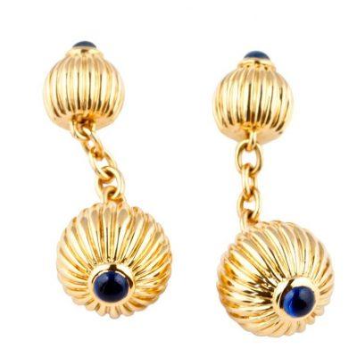 """Cartier Sapphire """"Pasha"""" Gold Cufflinks"""