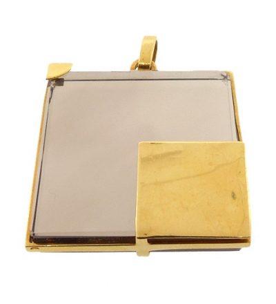French Modernist 18K Gold & Smoky Quartz Pendant