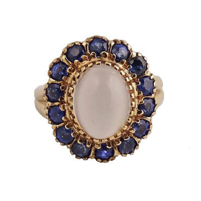 Retro Period 14K Gold Moonstone and Sapphire Ring