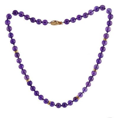 Amethyst Bead Necklace with 14K Gold Clasp