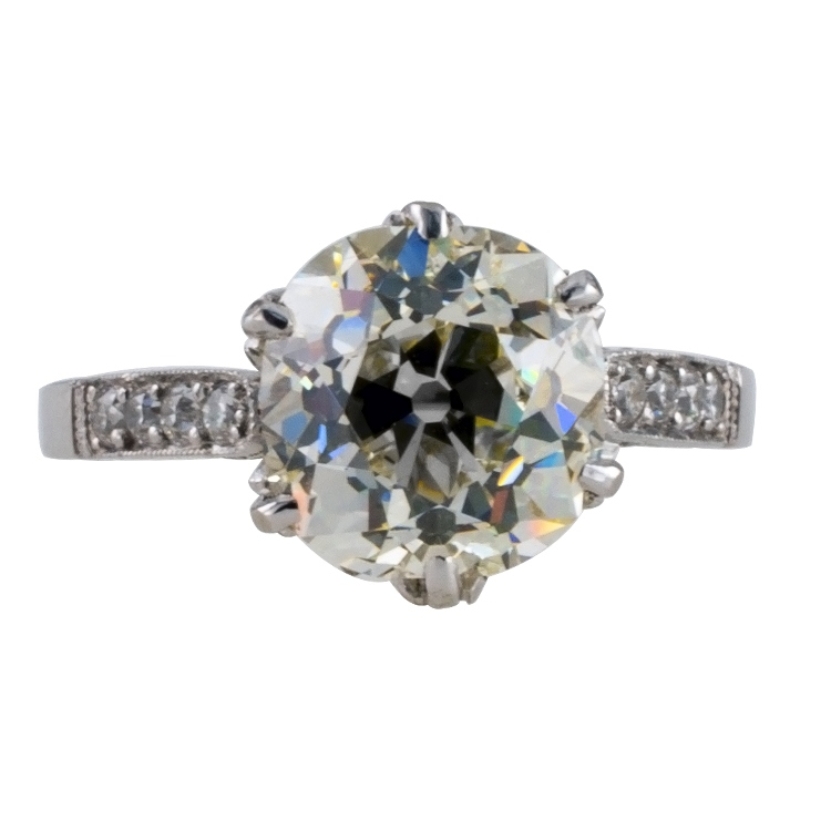3.02 Carats Old Cushion-Cut Diamond Solitaire Ring