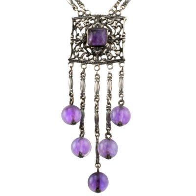 Antique Amethyst & Silver Necklace