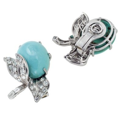 Beautiful Turquoise & Diamond Ear Clips