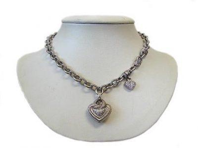 Judith Ripka 18K White Gold Double Heart Necklace
