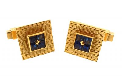 French 18K Gold & Sapphire Snap Cufflinks