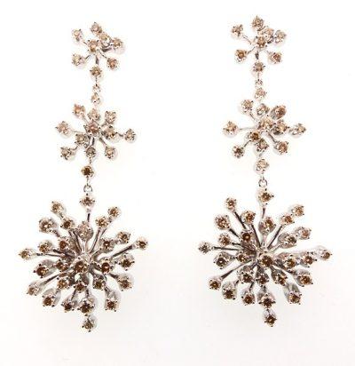 H Stern 18K Noble Gold & Natural Fancy-Colored Cognac Diamond Snowflake Earrings