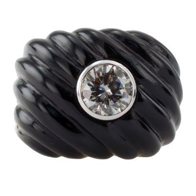 Carved Black Jade & Diamond Ring
