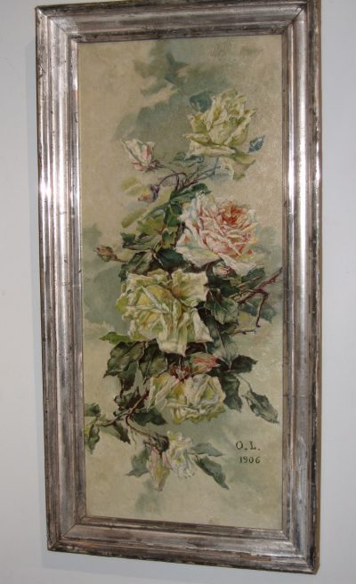 French Oil on Canvas of Roses