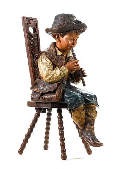 A Whimsical Statuette of a Piccolo Player By Bretby Art Pottery