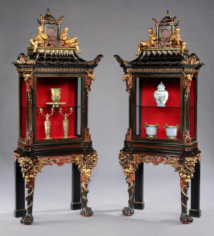 A Rare Pair of French Display Cabinets in the Chinoiserie Manner