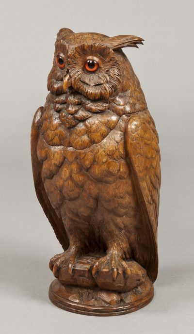A Black Forest Carved Horned Owl of Exceptional Size Attributable to Arnold Ruef of Brienz