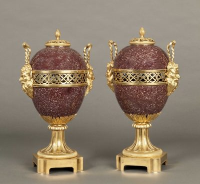 A Fine Pair of Porphyry Lidded Urns Of the Napoleon III Period