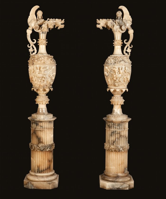 A Pair of Monumental Vases on Pedestals in the Neo-Renaissance Manner
