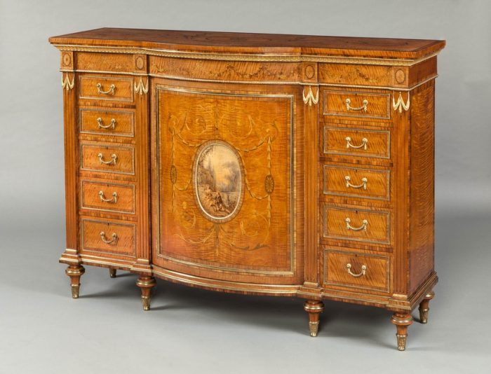 A Magnificent Side Cabinet in the Adam Manner Firmly Attributed to Wright & Mansfield of London