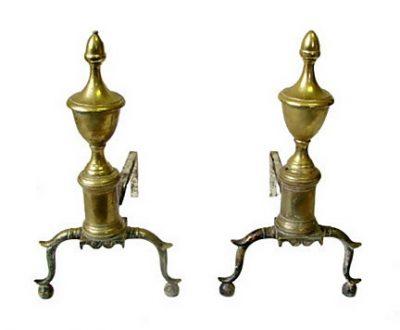 Pr Brass American Federal Andirons 1800