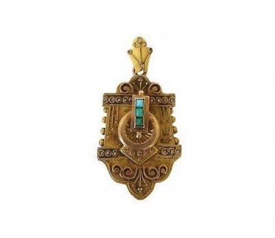 Victorian 14K Gold & Turquoise Locket Pendant