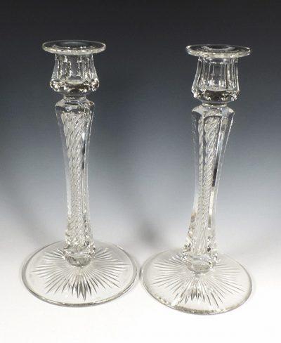 Signed Libbey ABP Cut Glass Spiral Twist Candlesticks