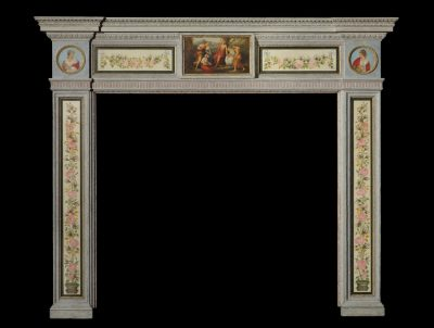 A Rare & Highly Decorative Georgian Chimney Piece  In the Manner of George Brookshaw