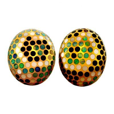 ANGELA CUMMINGS Onyx Opal Mother of Pearl Earrings