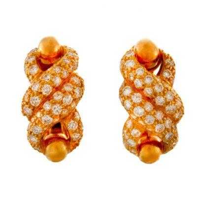 CARTIER Criss Cross Diamond Gold Earrings