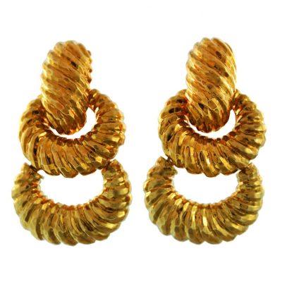 Bold Hammered Door Knocker Earrings