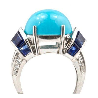 Turquoise Sapphire Diamond Platinum Ring