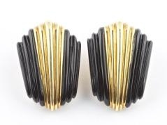 Onyx and Gold Earrings by Turi