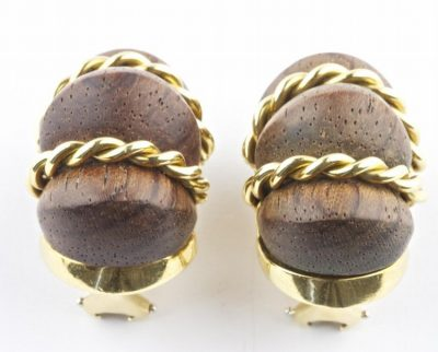 Wood and Gold Earrings by Valentin Magro